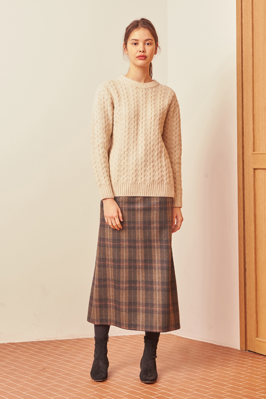 유라고 URAGO Woody check long skirt