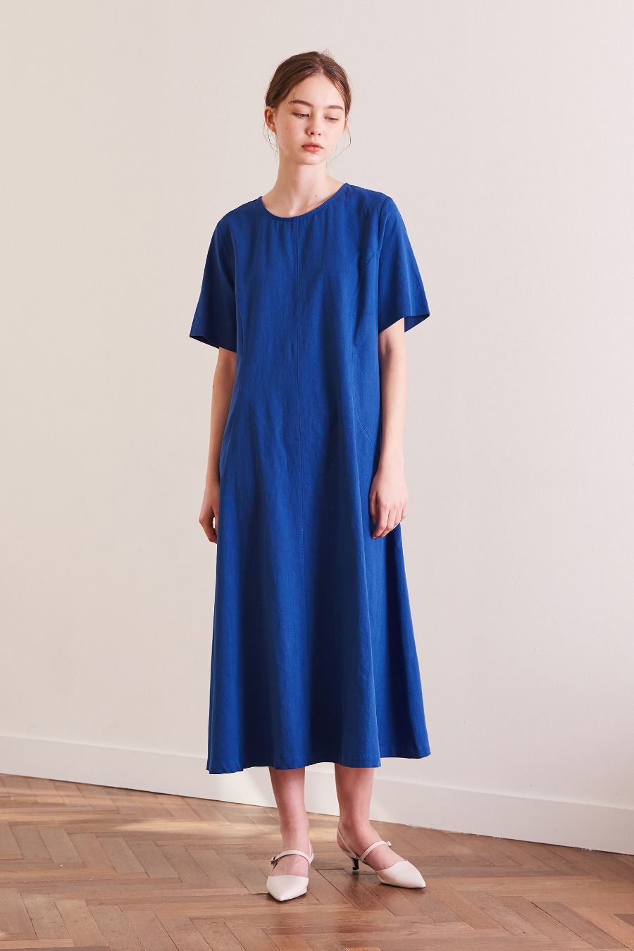 유라고 URAGO Simple line linen long dress