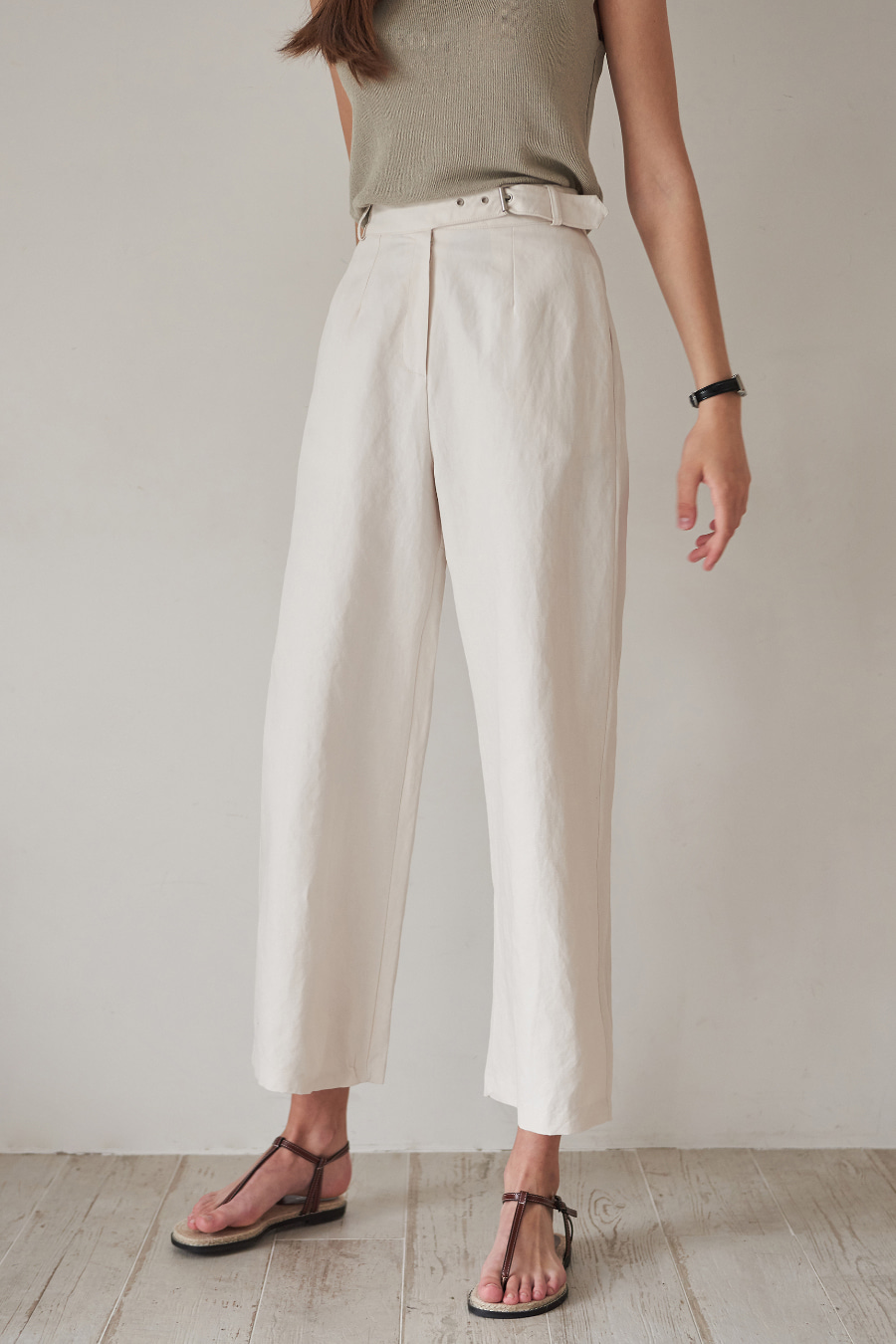 유라고 Hemp Cotton Belt Pants