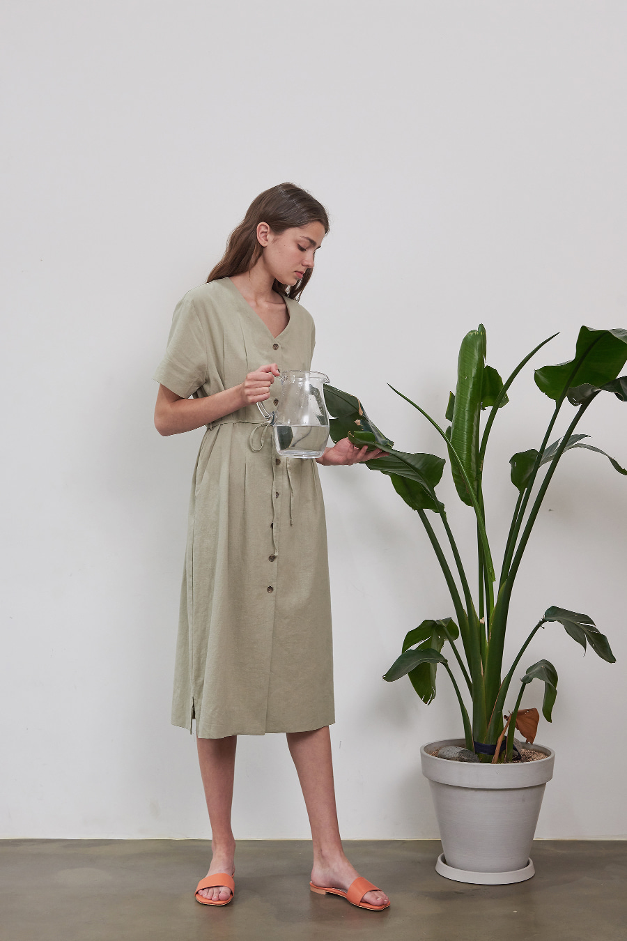 유라고 Linen button dress